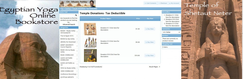 Temple donations picture from shopping cart