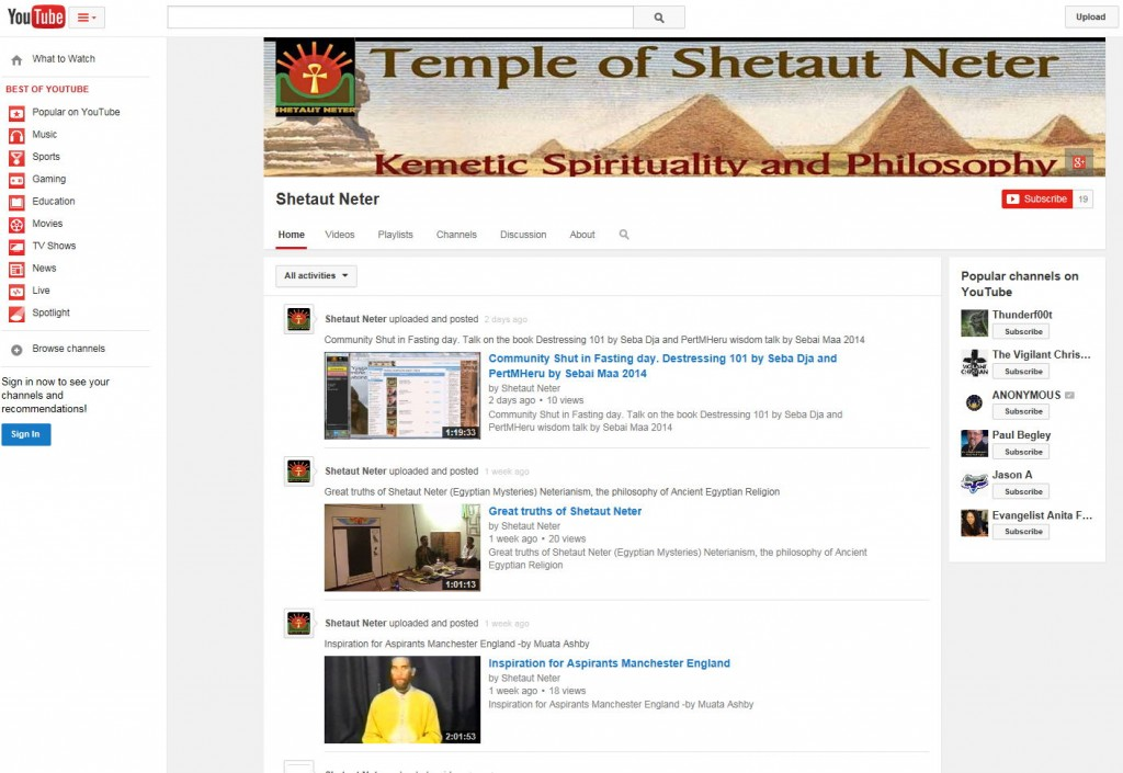 New Egyptianyoga Shetaut Neter youtube channel